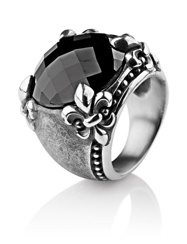 DR Ring Lilie mit Onix Silber